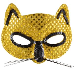 Metallic Yellow Cat Mask