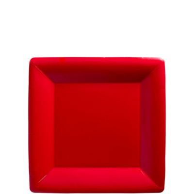 Red Paper Square Dessert Plates 20ct