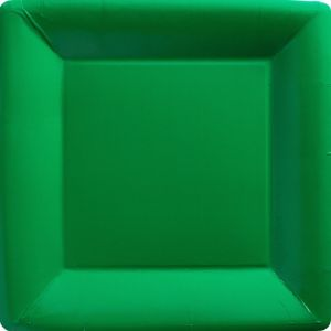Festive Green Paper Square Dinner Plates 20ct