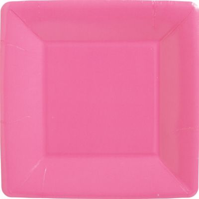 Bright Pink Paper Square Dinner Plates 20ct