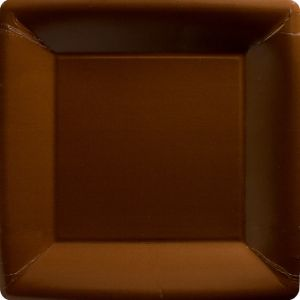 Chocolate Brown Paper Square Dinner Plates 20ct