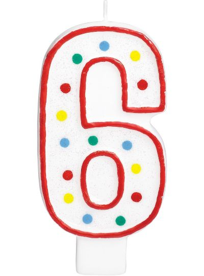 Giant Red Outline Glitter Polka Dot Number 6 Candle