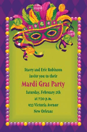 Custom Masquerade Mardi Gras Invitations