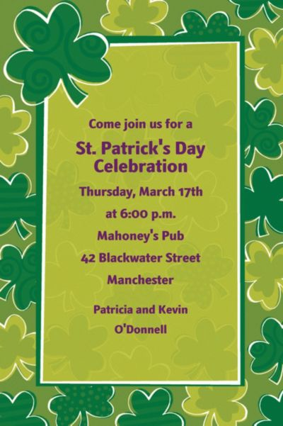 Custom Playful Shamrocks St. Patrick's Day Invitations