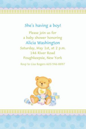 Custom Precious Bear Blue Baby Shower Invitations