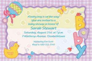 Custom Hugs & Stitches Baby Shower Invitations