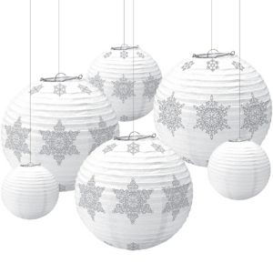 Winter Snowflake Paper Lanterns 6ct