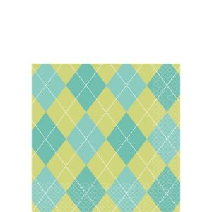 Green and Blue Argyle Beverage Napkins 16ct