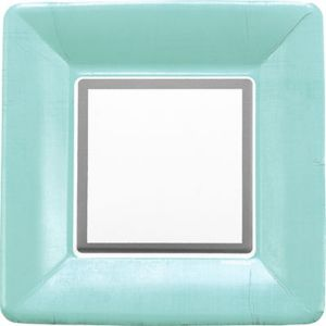 Turquoise Border Dinner Plates 18ct