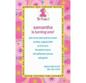 Custom One-Derful Girl 1st Birthday Invitations