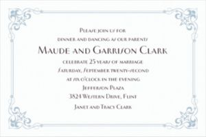 Custom Flourish Corners Silver Invitations