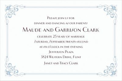 Flourish Corners Silver Custom Invitation