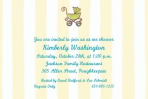 Custom Tiny Carriage on Stripe Baby Shower Invitations