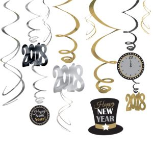 Black, Gold & Silver Happy New Year Swirl Decorations 12ct