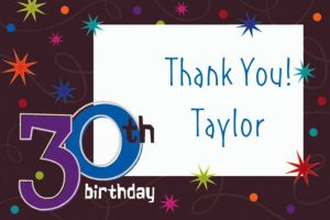 Custom The Party Continues 30th Birthday Thank You Notes