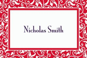Custom Red Ornamental Scroll Thank You Notes