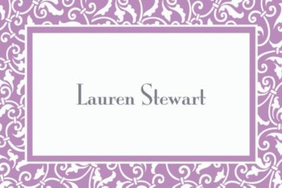 Custom Lavender Ornamental Scroll Thank You Notes