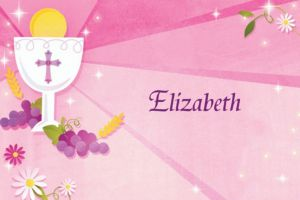 Custom Pink First Communion Thank You Notes