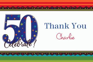 Custom A Year to Celebrate 50th Thank You Notes