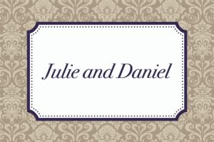 Custom Classic Damask Border Navy Thank You Notes