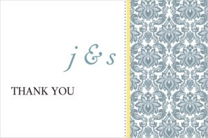 Custom Decorative Damask Yellow Thank You Notes