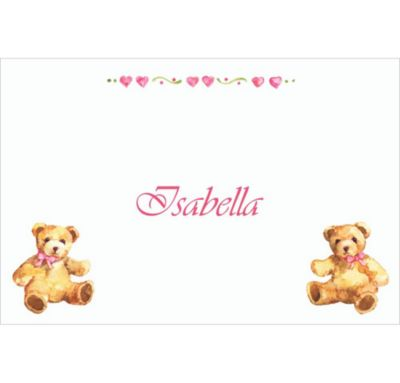 Custom Teddy Bears with Pink Baby Shower Thank You Notes