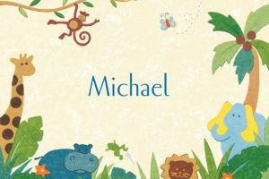 Custom Cute Jungle Animals Baby Shower Thank You Notes