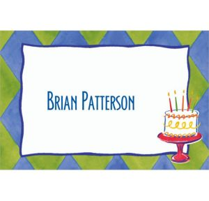 Custom Cake on Diamond Pattern Thank You Notes