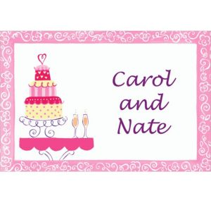 Custom Bridal Shower Cake & Champagne Bridal Shower Thank You Notes