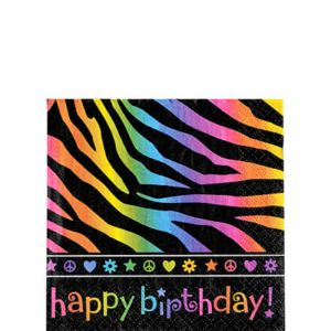 Neon Birthday Beverage Napkins 16ct