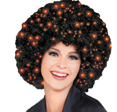 Black Fiber Optic Afro Wig