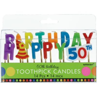Dots & Stripes 50th Birthday Candle Picks