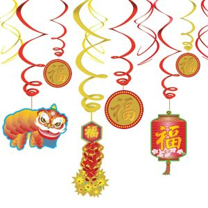 Chinese New Year Hanging Swirl Decorations 12ct