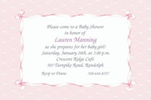 Custom Pink Lace & Bows Baby Shower Invitations