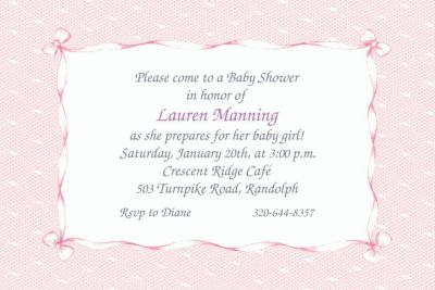 Pink Lace and Bows Custom Baby Shower Invitation