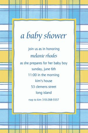 Custom Blue & Yellow Check Baby Shower Invitations