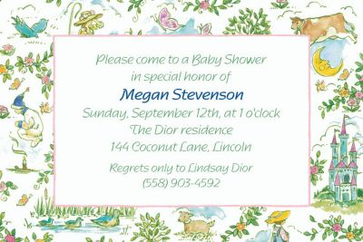 Custom Fairytale Toile Baby Shower Invitations