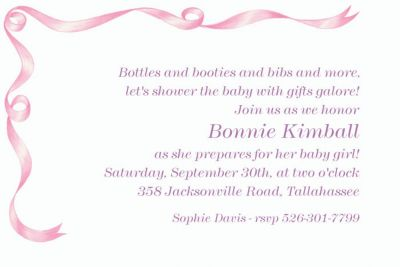 Simple Pink Ribbon Custom Baby Shower Invitation