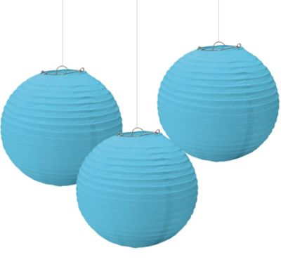 Caribbean Blue Paper Lanterns 9 1/2in 3ct