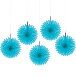 Caribbean Blue Mini Paper Fan Decorations 5ct