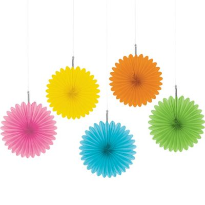 Multicolor Mini Fan Decorations 5ct