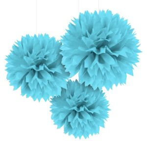 Caribbean Blue Fluffy Decorations 3ct