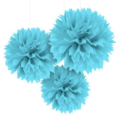 Caribbean Blue Fluffy Decorations 16in 3ct