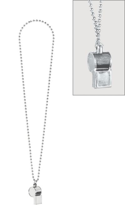 Silver Party Beads with Whistle