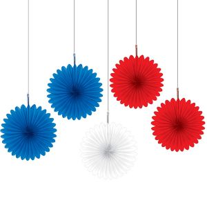 Patriotic Red, White & Blue Mini Fan Decorations 5ct