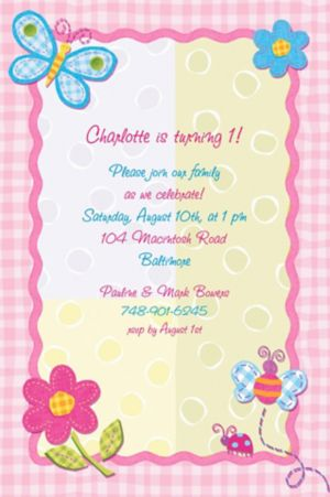 Custom Hugs & Stitches Girl Invitations