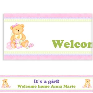 Custom Precious Bear Pink Baby Shower Banner 6ft