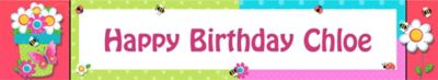 Custom Garden Girl Birthday Banner 6ft