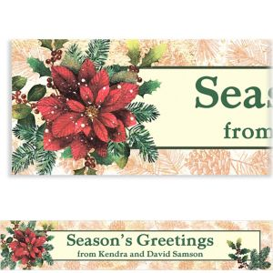 Custom Snowy Botanical Christmas Banner 6ft