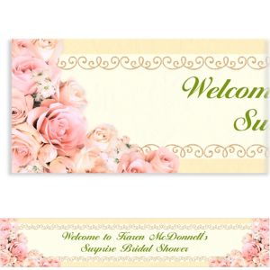 Custom Dazzling Bouquet Bridal Shower Banner 6ft